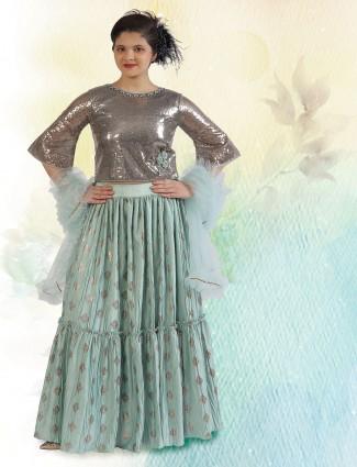 Wedding function rama green silk lehenga choli for girls