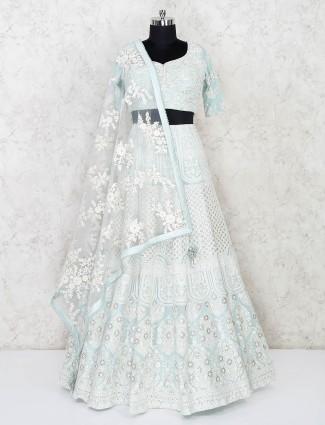 Wedding function sky blue georgette lehenga choli