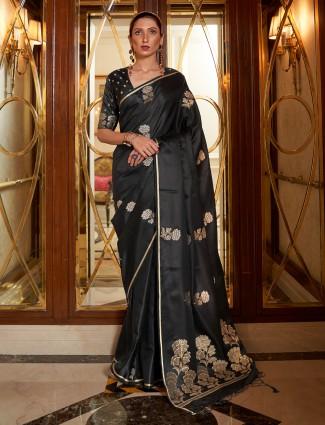 Wedding functions amazing printed black hue silk saree