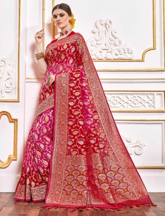 Wedding georgette bandhej saree in magenta and red with zari