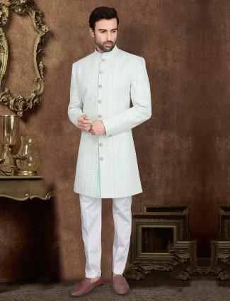 Wedding light blue silk designer indo western