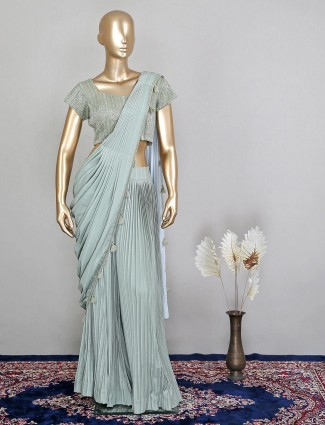 Wedding look ready to wear saree for women in green georgette