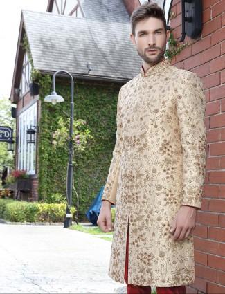 Wedding occasion beige hue raw silk indo western