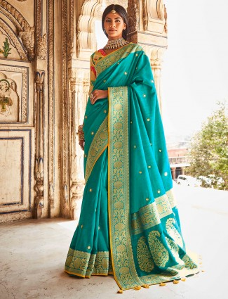 Wedding occasions aqua silk saree