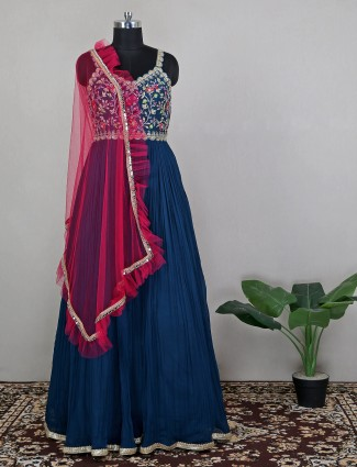 Wedding occasions blue anarkali suit with odhani