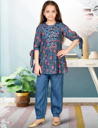 Wedding occasions blue cotton punjabi pant suit for girls