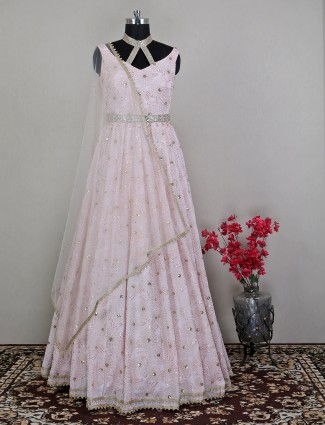 Wedding occasions floor-length dress in attractive pink shade