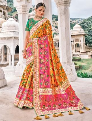 Wedding occasions latest carrot orange patola silk saree