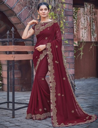 Wedding occasions latest maroon georgette saree