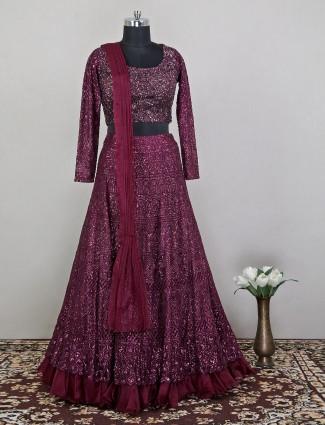 Wedding occasions net lehenga in wine purple color