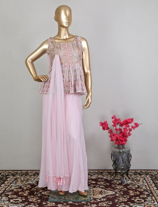 Wedding occasions pink georgette palazzo suit