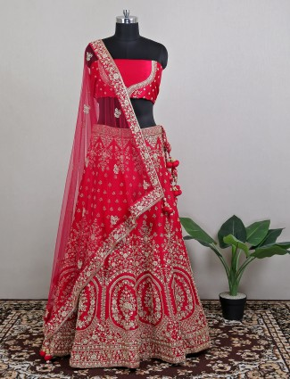 Wedding occasions red rawsilk lehenga choli