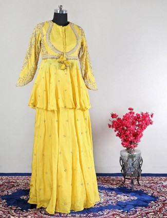 Wedding occasions yellow georgette lehenga style suit