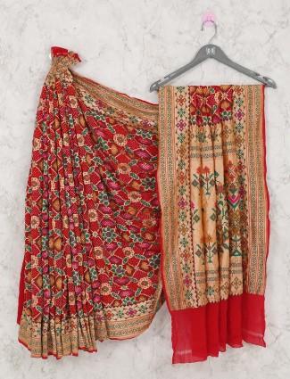 Wedding perfect red bandhej saree