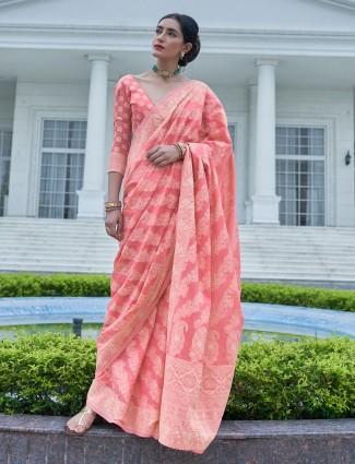 Wedding pink georgettte saree in lucknowi work