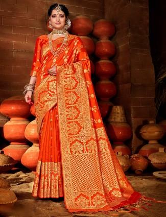 Wedding special orange banarasi silk saree