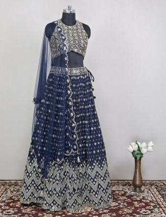 Wedding style modish navy shade lehenga choli for feminism