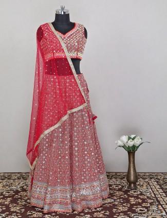 Wedding style red colored raw silk lehenga choli
