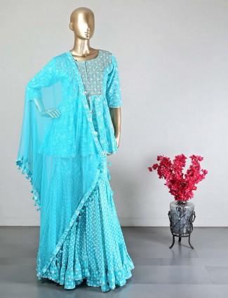 Wedding wear aqua cotton sharara suit