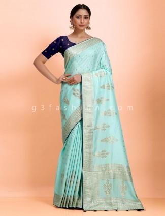 Wedding wear aqua dola silk designer saree