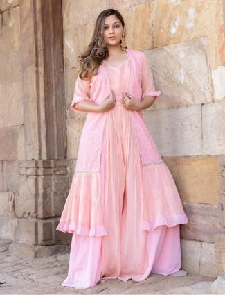 Wedding wear baby pink georgette jacket style salwar suit
