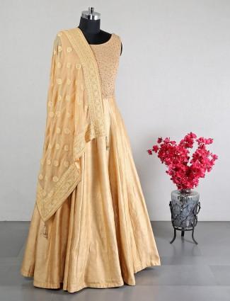 Wedding wear beige raw silk anarkali suit