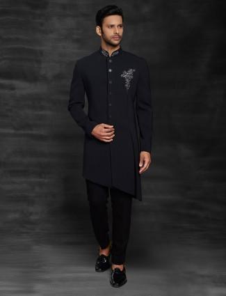 Wedding wear black mens indo western