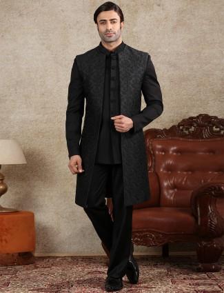 Wedding wear black silk mens indo western