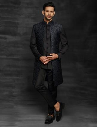 Wedding wear black terry rayon indo western