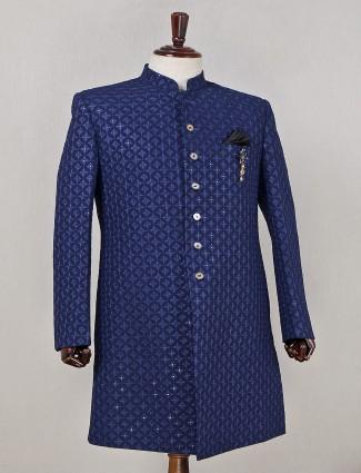 Wedding wear blue georgette indowestern sherwani