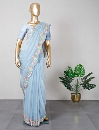 Wedding wear blue silk saree
