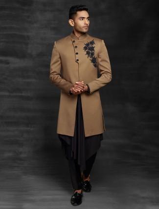 Wedding wear brown terry rayon indo western