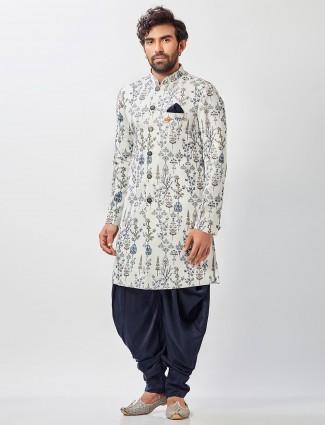 Wedding wear cream cotton silk mens semi indo western