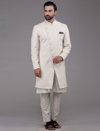 Wedding wear cream mens indo western with kurta