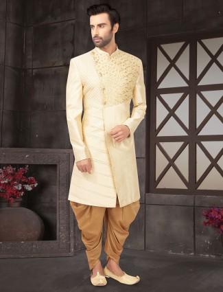 Wedding wear cream raw silk indo western