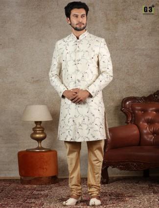 Wedding wear cream raw silk mens indo western