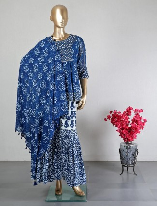 Wedding wear dark blue georgette sharara suit for wedding