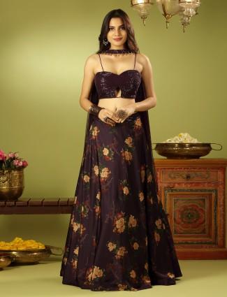Wedding wear excellent black hue lehenga choli