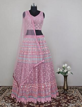 Wedding wear excellent onion pink net lehenga choli