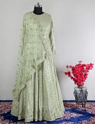 Wedding wear georgette green anarkali suit