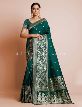 Wedding wear green dola silk saree