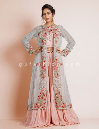 Wedding wear grey and pink palazzo suit for womens