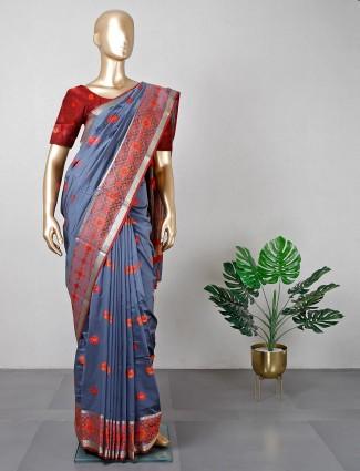 Wedding wear grey patola silk saree