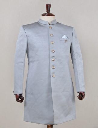 Wedding wear grey silk indo fusion sherwani