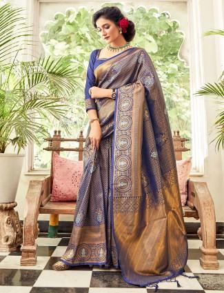 Wedding wear indigo blue hue silk saree
