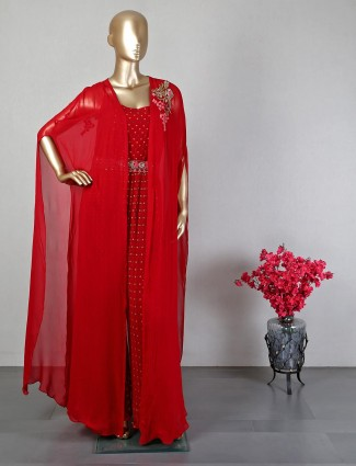 Wedding wear indo western red georgette suit