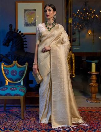 Wedding wear kanjivaram saree in beige