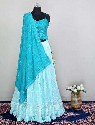 Wedding wear lehenga choli in green georgette for beautiful women