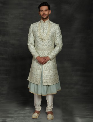 Wedding wear light blue double layer sherwani