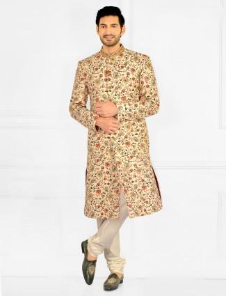 Wedding wear mens sherwani with thread work details